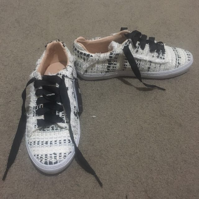 Zara tweed black and white dress sneakers shoes