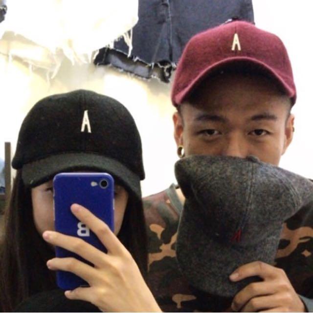 0136 Agari 自製 皮製 帽子 羊毛 絨毛 棒球帽 鴨舌帽 帽子