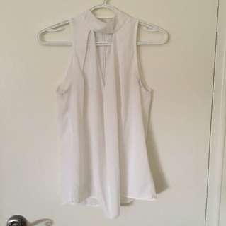 High neck white dress top