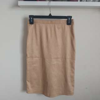 Sexy suede tan pencil skirt