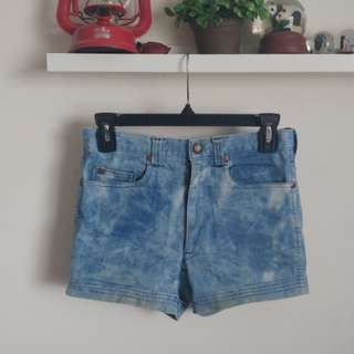 High-waisted faded denim shorts