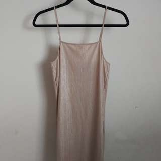 New Zara gold slip dress