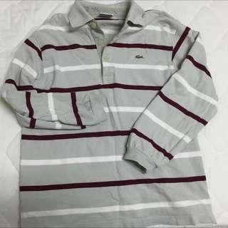 🚚 正品 LACOSTE 長袖 條紋 Polo衫 S號(大約等於4號)