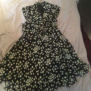 Black Daisy Print Dress (size 12)