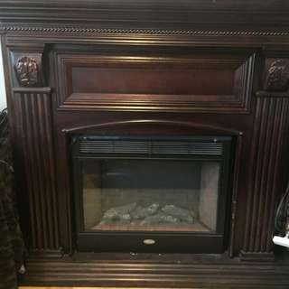 Brown wooden electric fireplace