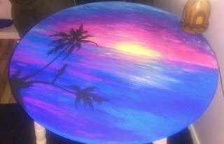 Original hand painted wooden table