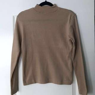 Thrifted Camel Mock Neck Sweater