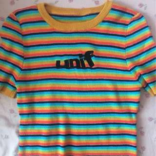 UNIF old school stripe top rainbow