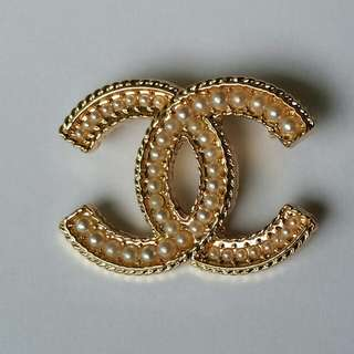 New Chanel Inspired CC Pearl Brooch