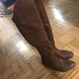 Knee high brown winter boots