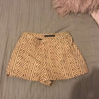 Gold dress shorts