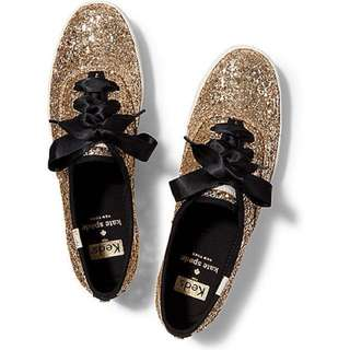 Keds x Kate Spade Champion Glitter Shoes in Gold Glitter
