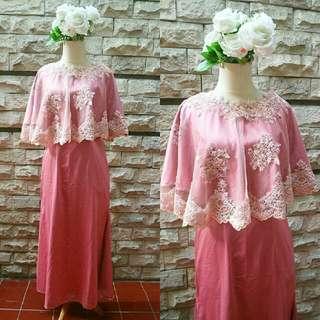 cape dress kebaya pink