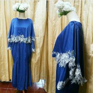 navy mermaid kebaya cape dress