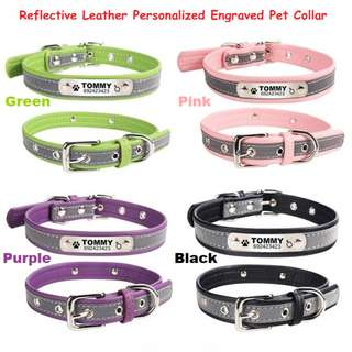 Personalized Reflective Laser Deep Engraved Pet Collar For Small Medium Dog's & Cat's
