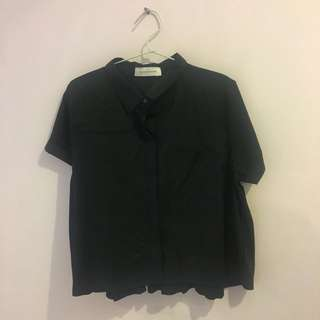 Schoncouture - Black Short Sleeved Shirt (Free Size)