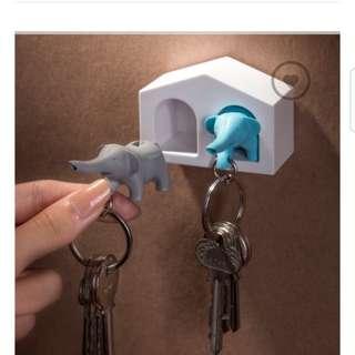 大象 鑰匙圈的家 Duo elephant key ring