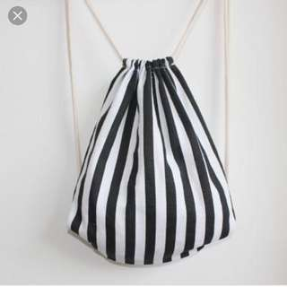 monochrome black and white drawstring cotton bag