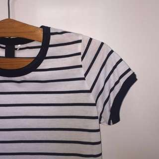 factorie striped black and white ringer tee shirt