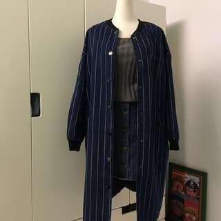 🚚 [二手] 淘氣感直紋厚質長版外套