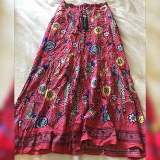 Cast your Spell in this gypsy print Lovebird skirt Rose S,M,L FREE POSTAGE