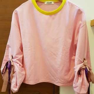 Ballon crop tee pink