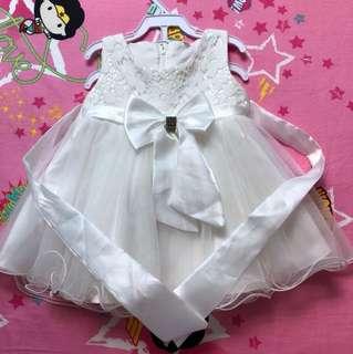 Korean ribbon tulle dress white