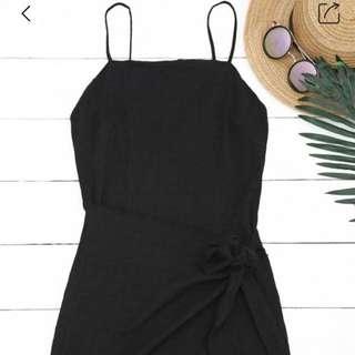 Slip knot mini dress - Black
