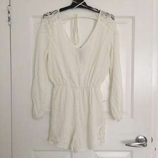 White flowy playsuit