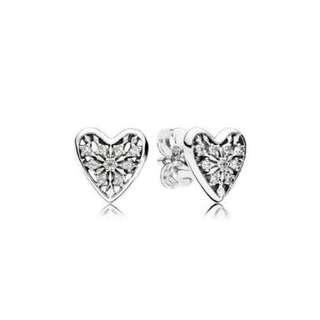 Pandora Hearts of Winter Silver Earring Stud