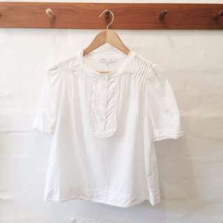 See by Chloe white button up blouse with cute frill detail.