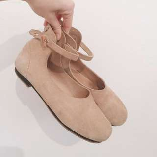 Koo suede leather ballet flat with ankle strap.