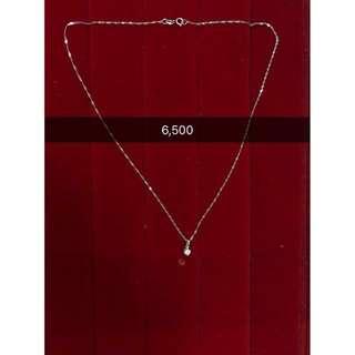 Diamond pendant with chain white gold (18karat)