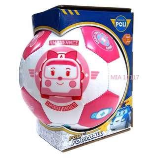 🚚 (全新)正品 救援小英雄 波力 安寶 Robocar Poli 兒童足球 幼兒足球 聯名限量足球 粉紅色 育兒好物