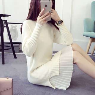 BN thick knitted cream dress
