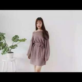 🚚 寬鬆收腰綁帶連身裙