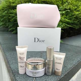 Christian Dior Capture Totale Skincare Set with Pouch in Baby Pink