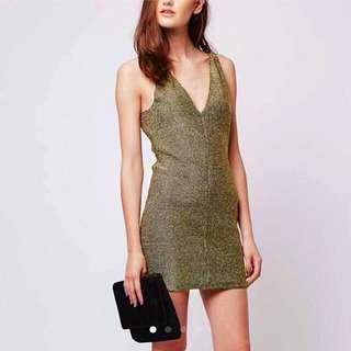 BNWT TOPSHOP Chainmail Metallic Gold Bodycon Dress