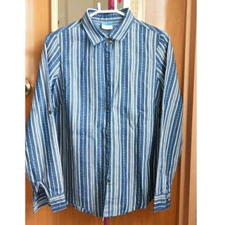 Blue Striped button down polo (Size S, Female)