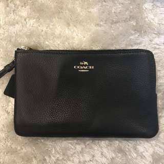 BRAND NEW Coach Double Zip Pebble Leather Wristlet Wallet BLACK