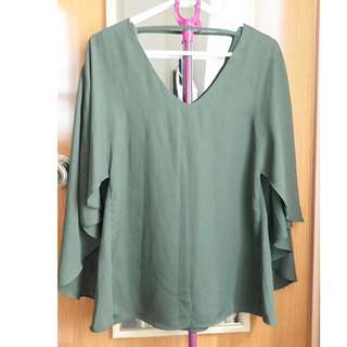 CLN Moss Green V-neck Blouse (Size Small)