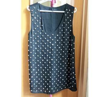 Black Sleeveless Studded Blouse (Size M)