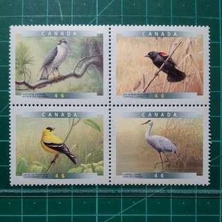 [均一價$10]1999 加拿大 雀鳥郵票IV 新票一套