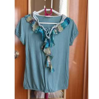 Green Ruffled Blouse (Size Small)