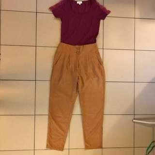 Brown vintage high waist pants