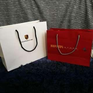 Set of 2 Porsche and ferrari paper bags