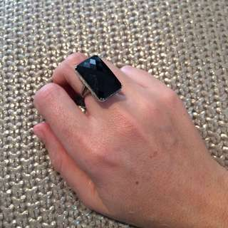Genuine Onyx And Sterling Silver Ring With Four TINY Diamonds