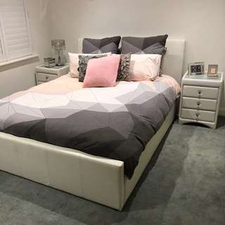 Queen bed frame and bedside set