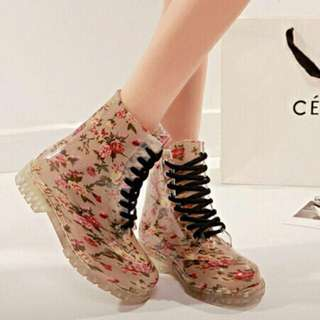 REPRICED!!! floral rain/jelly boots
