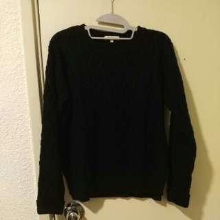 日牌 Hushush dark blue knit wear sweater 深藍色冷衫